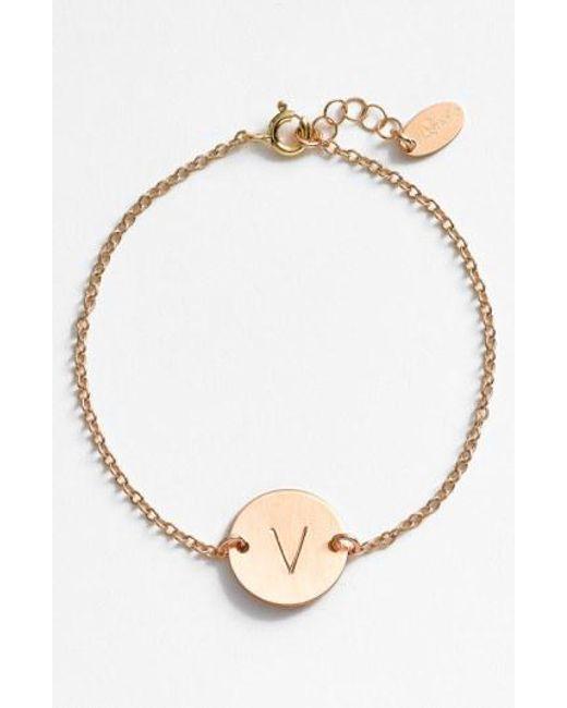 Nashelle - Metallic 14k-gold Fill Initial Disc Bracelet - Lyst