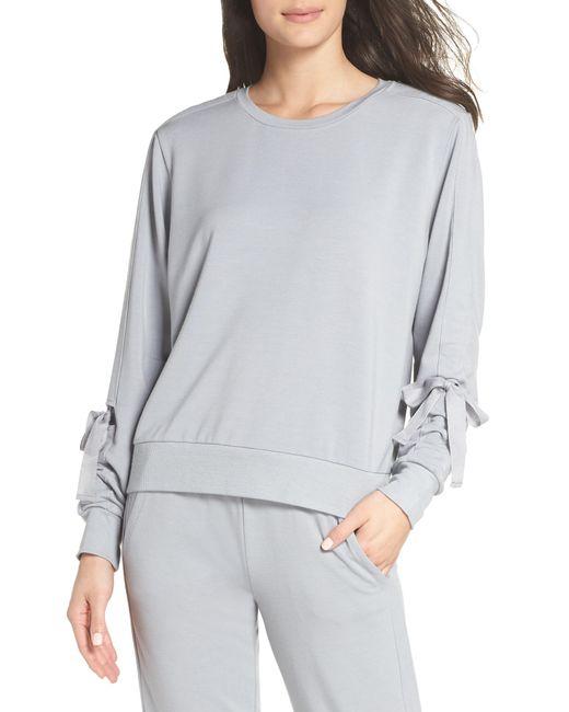 Zella - Gray Gather Sleeve Sweatshirt - Lyst