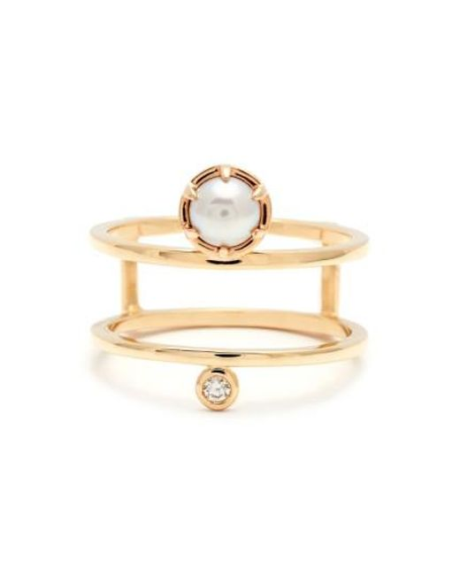 Anna Sheffield | Metallic 'reverse Attelage' Double Band Pearl & Diamond Ring | Lyst