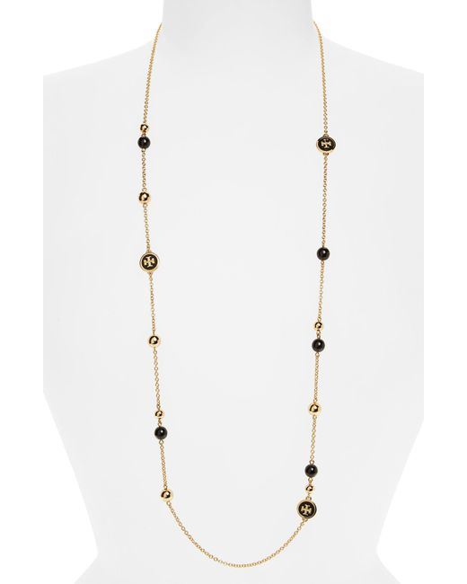 Tory Burch - Metallic Rosary Station Necklace - Lyst