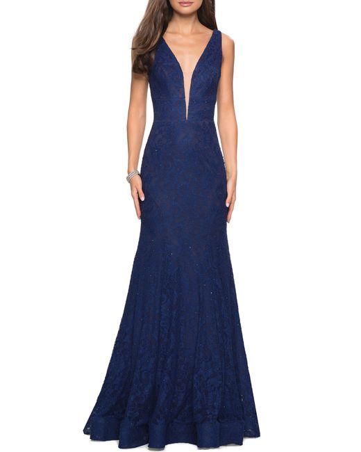 La Femme Blue Plunge Neck Lace Evening Dress With Train
