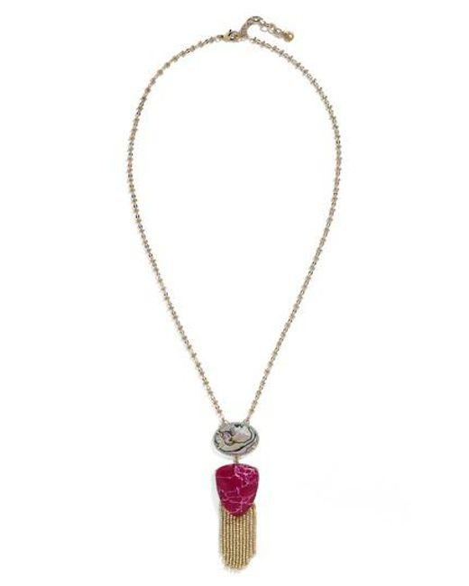 BaubleBar | Metallic Fringe Abalone Pendant Necklace | Lyst