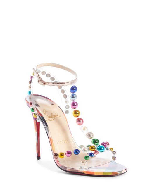 Christian Louboutin Multicolor Faridaravie 100 Embellished Pvc And Mirrored-leather Sandals