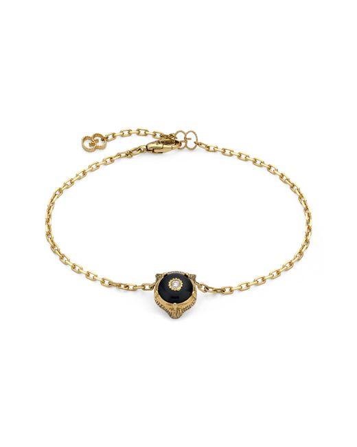 Gucci - Metallic Feline Head Charm Bracelet - Lyst