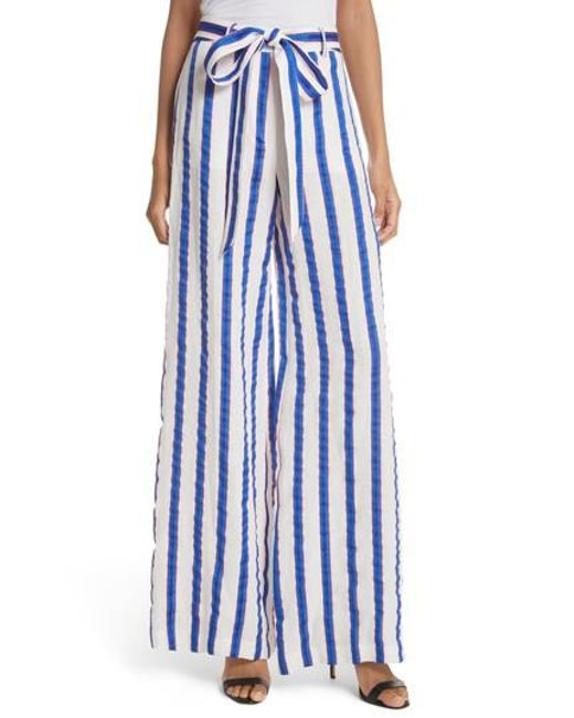 MILLY - Blue Stripe Washed Linen Blend Pants - Lyst