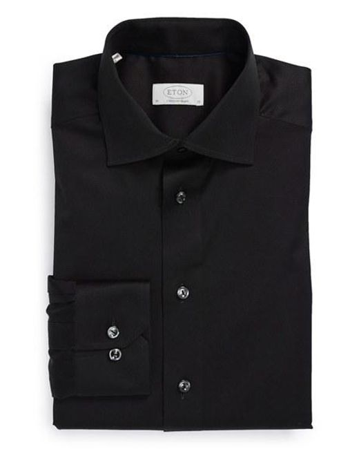 Eton of Sweden | Black Contemporary Fit Solid Dress Shirt for Men | Lyst