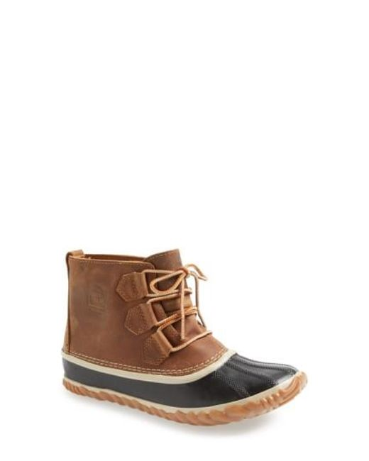 Sorel | Brown 'out N About' Leather Boot | Lyst
