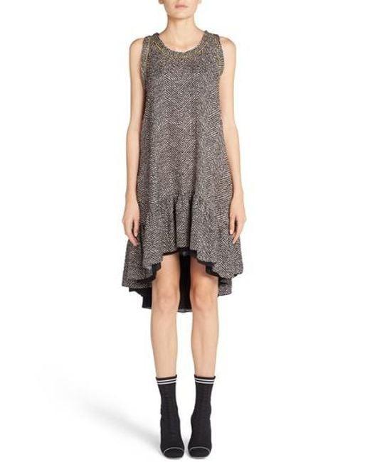 chevron dress - Black Fendi yRfxJ