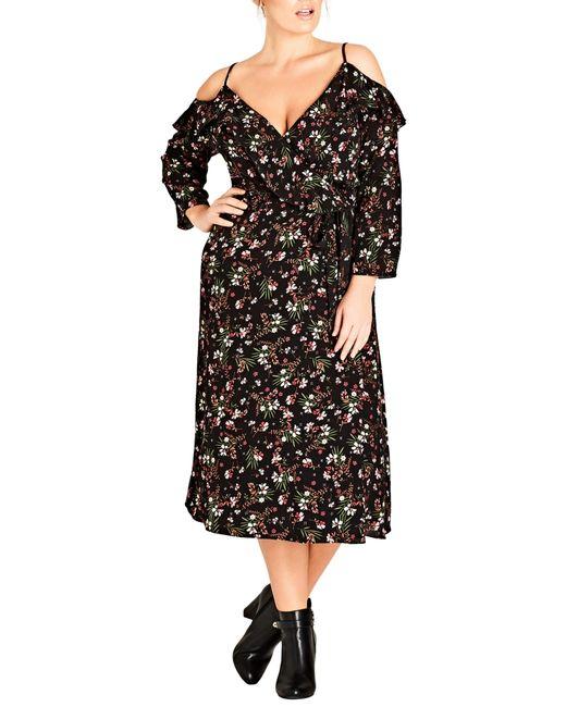 City Chic - Black Trendy Plus Size Floral-print Surplice Cold-shoulder Dress - Lyst