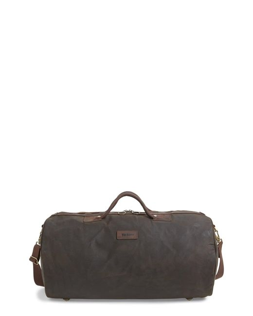 Barbour Green Waxed Canvas Duffle Bag for men