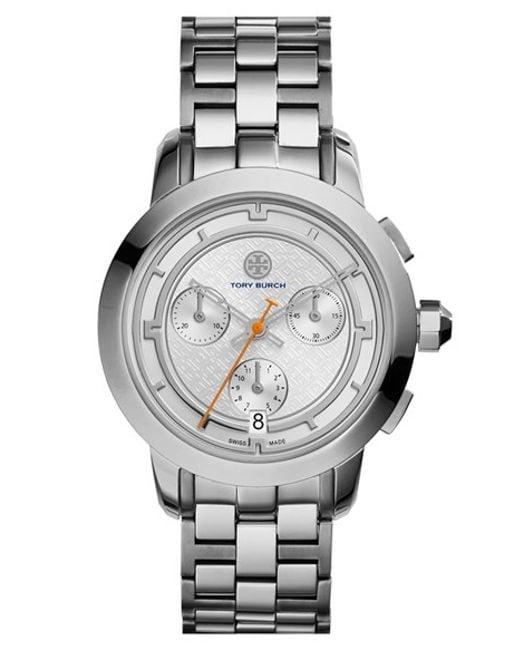 Tory Burch | Metallic 'tory' Chronograph Bracelet Watch | Lyst