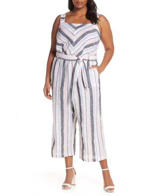 13eb8799e401 Lyst - Vince Camuto Sorbet Stripe Belted Linen Jumpsuit in Blue