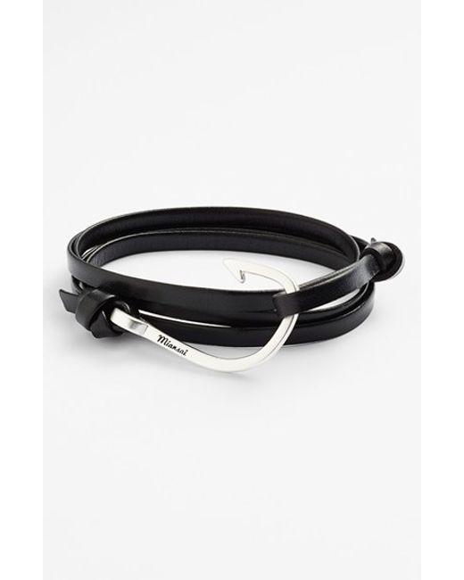 Miansai | Black Silver Hook Leather Bracelet for Men | Lyst