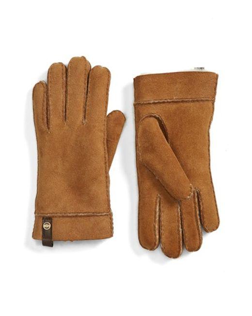 UGG | Brown Ugg Australia 'tenney' Genuine Shearling Gloves | Lyst