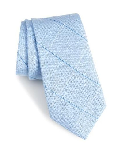 Calibrate - Blue Candler Grid Linen & Silk Tie for Men - Lyst