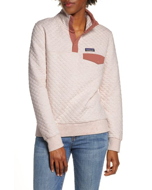 Patagonia Quilted Pullover White: Patagonia Fleece Snap-t Quilted Pullover In White