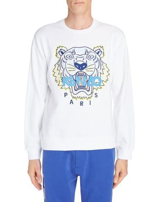 KENZO - White Embroidered Tiger Sweatshirt for Men - Lyst