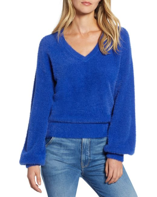 Halogen Blue Halogen Fuzzy V-neck Sweater
