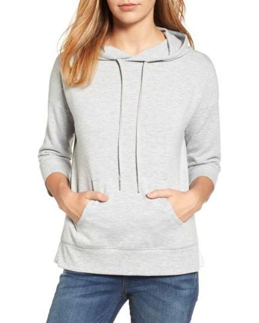 Caslon | Gray Caslon Woven Inset Knit Hoodie | Lyst