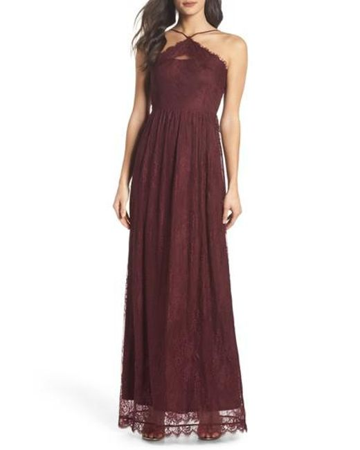 Heartloom - Purple Eloise Halter Neck Lace Gown - Lyst