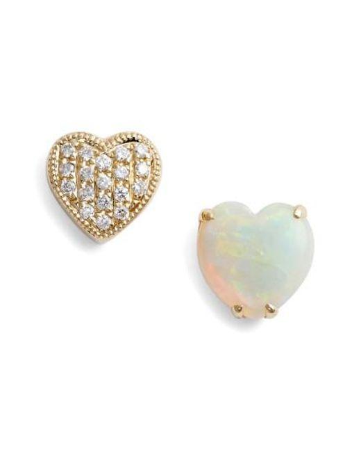 Dana Rebecca - Metallic Diamond & Semiprecious Stone Stud Earrings - Lyst