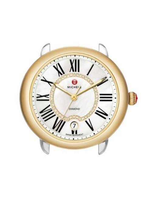 Michele - Metallic Serein 16 Diamond Dial Two-tone Round Watch Head - Lyst