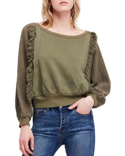 Free People - Green Faff Fringe Sweater - Lyst