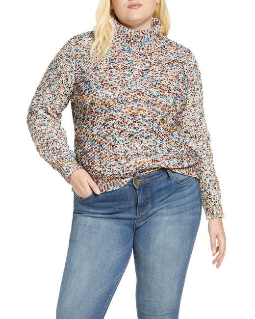 Caslon Multicolor Caslon Mock Neck Nep Pullover Sweater