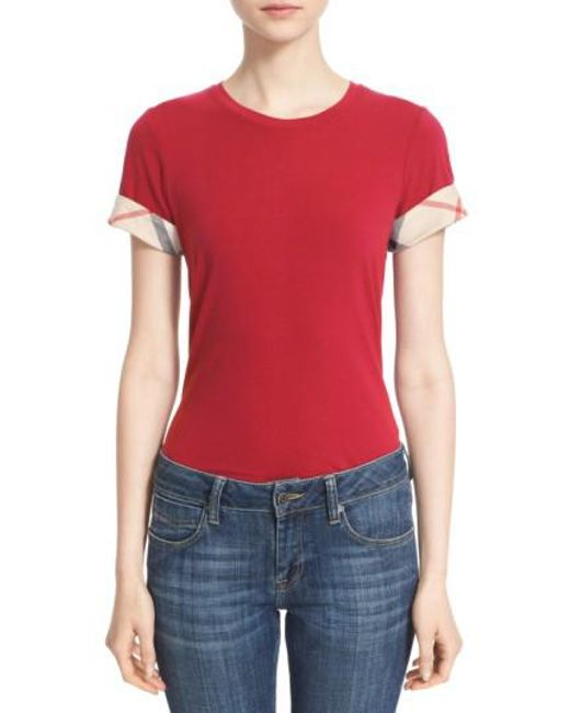 Burberry | Red Check Trim Tee | Lyst