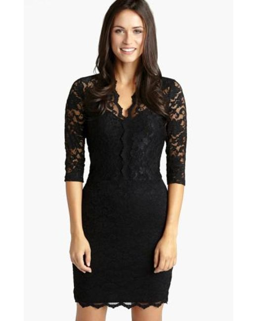 Karen Kane | Black Scalloped Lace Sheath Dress | Lyst