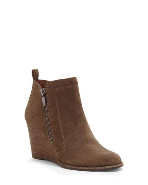 89c75db9c19e5 Lucky Brand Yahir Wedge Bootie in Brown - Lyst