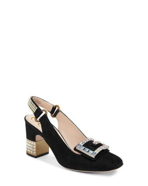 8386022c155 Lyst - Gucci Madelyn Crystal Embellished Slingback Pump in Black