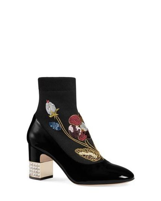 Gucci - Black Candy Floral Embroidered Bootie - Lyst