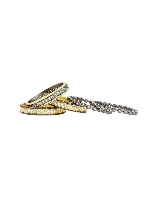 Freida Rothman Metallic Classic Stackable Rings In 14k Gold - Plated & Rhodium - Plated Sterling Silver