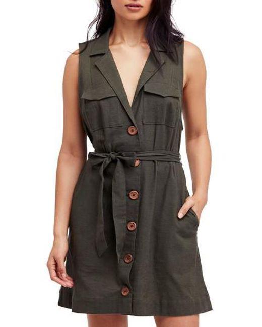 Free People - Black Hepburn Safari Shirtdress - Lyst