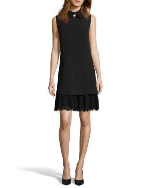 Eci | Black Embellished Crepe Shift Dress | Lyst