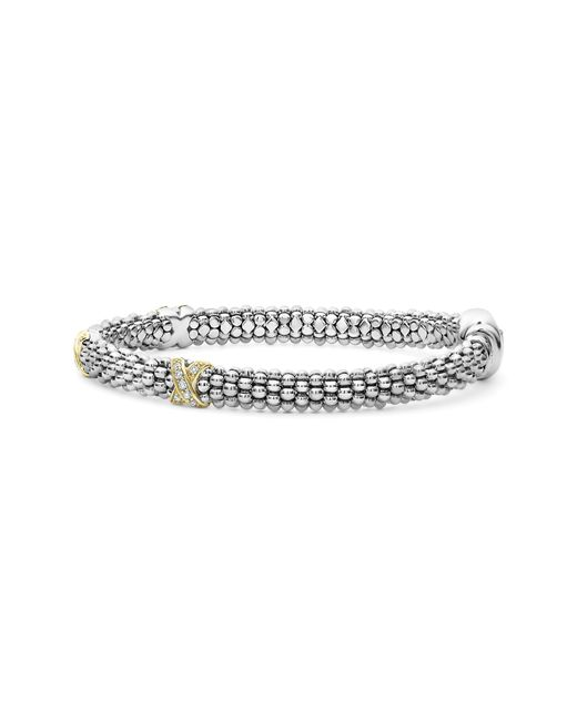 Lagos Metallic 'signature Caviar' Diamond Rope Bracelet
