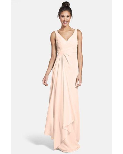 Monique Lhuillier Bridesmaids | Pink Sleeveless V-neck Chiffon Gown | Lyst