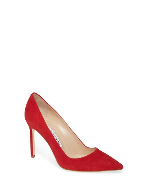 Manolo Blahnik Red Bb 90 Suede Point Toe Pumps