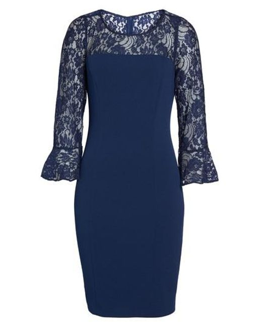 Adrianna Papell | Blue Lace & Crepe Dress | Lyst