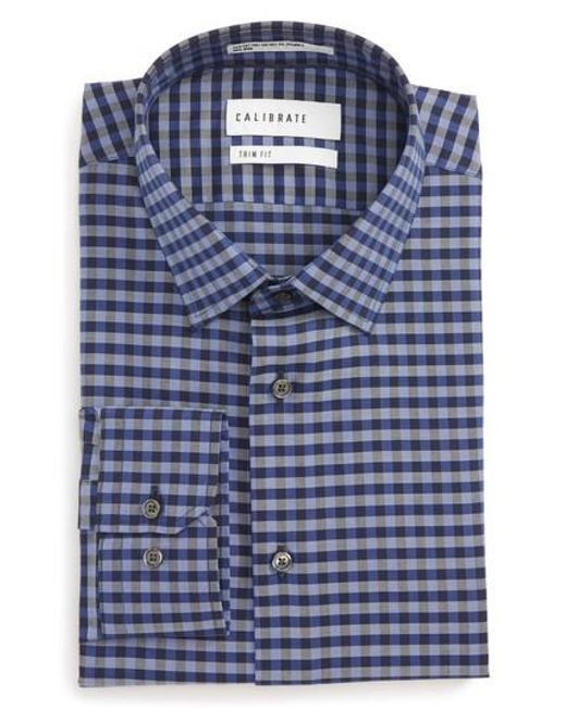 Lyst calibrate trim fit stretch non iron check dress for How to stretch a dress shirt