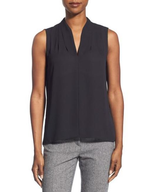 T Tahari | Black 'edie' Pleat V-neck Blouse | Lyst