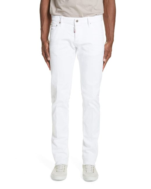 DSquared² - White Slim Fit Jeans for Men - Lyst