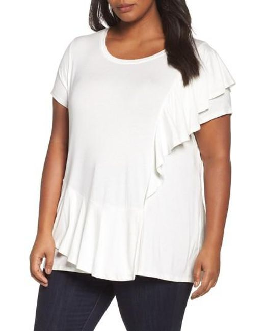 Sejour | White Ruffle Sleeve Top | Lyst