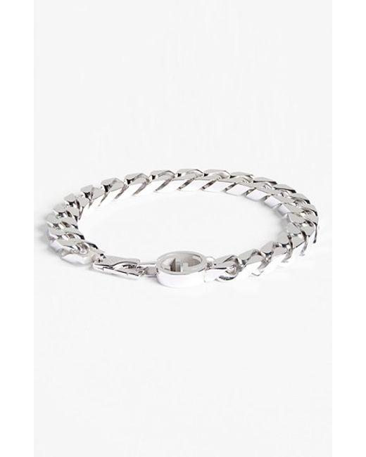 Gucci | Metallic Interlocking Logo Bracelet for Men | Lyst
