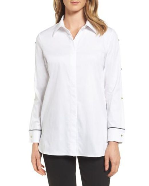 Ming Wang | White Split Sleeve Shirt | Lyst