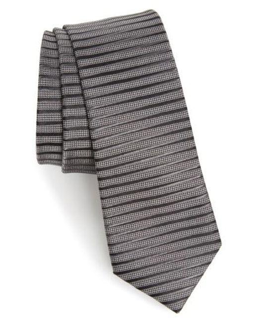 Calibrate | Gray Brewer Stripe Silk Tie for Men | Lyst
