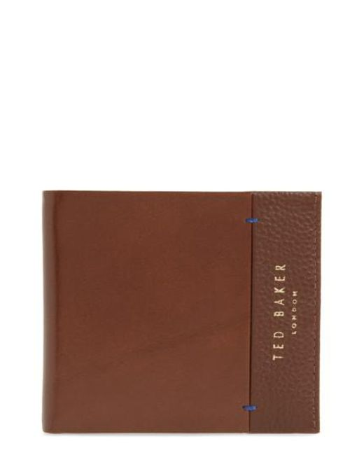 Ted Baker | Brown Leather Bifold Wallet for Men | Lyst