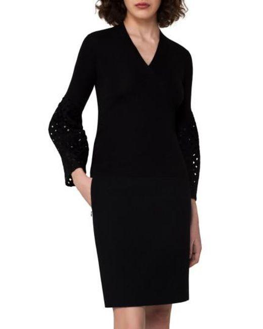 Akris | Black Lace Sleeve Cashmere & Silk Sweater | Lyst