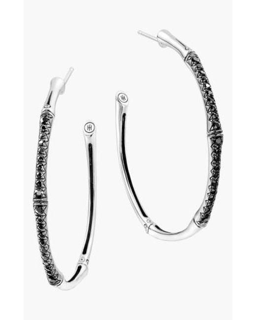 John Hardy   Metallic 'Bamboo - Lava' Pave Sapphire Hoop Earrings   Lyst